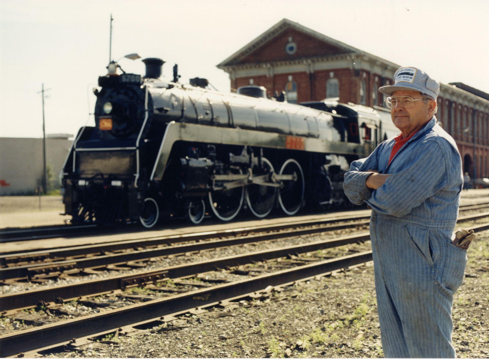 Ken Verrell with train
