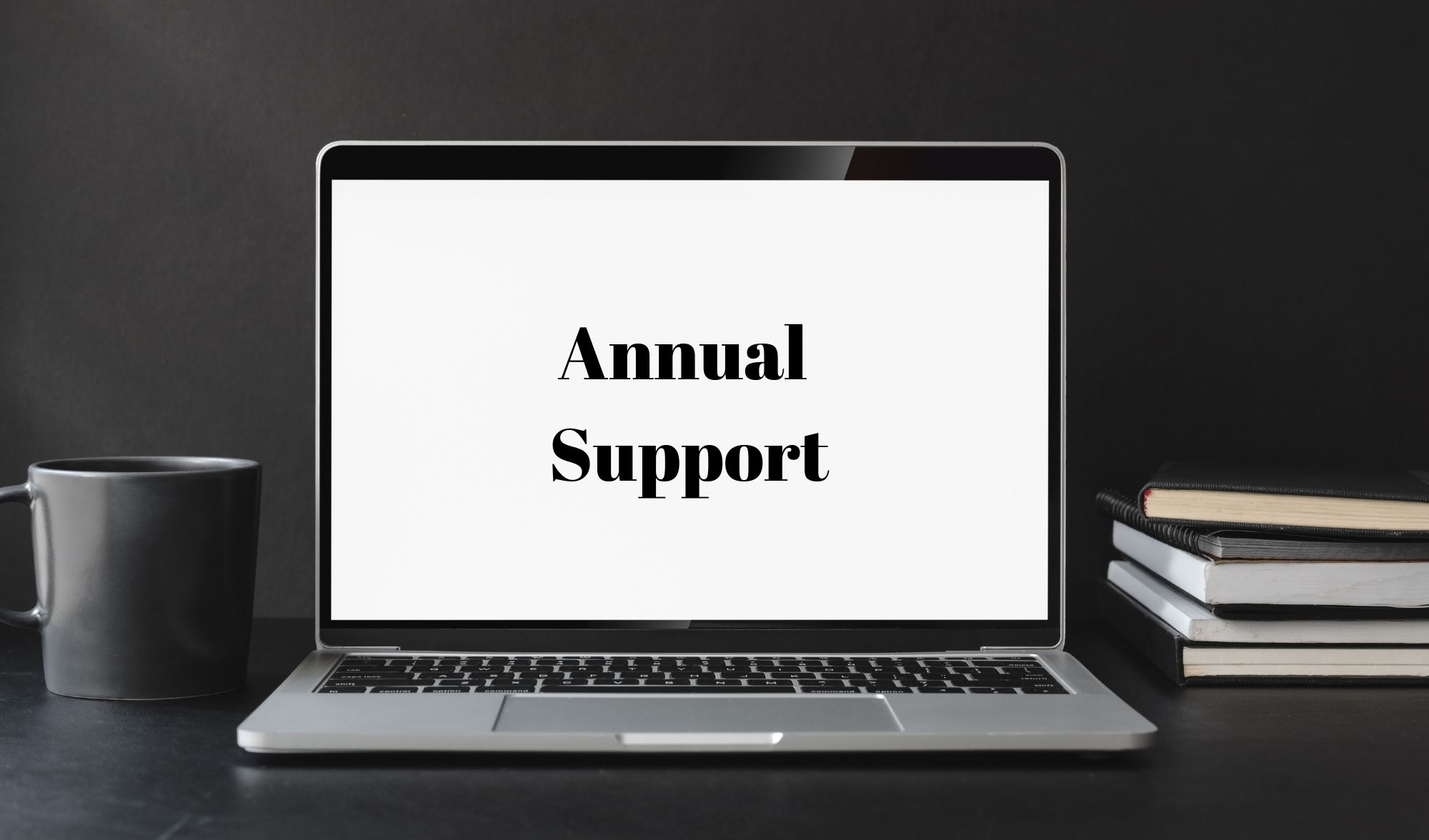 Laptop with words Annual Support