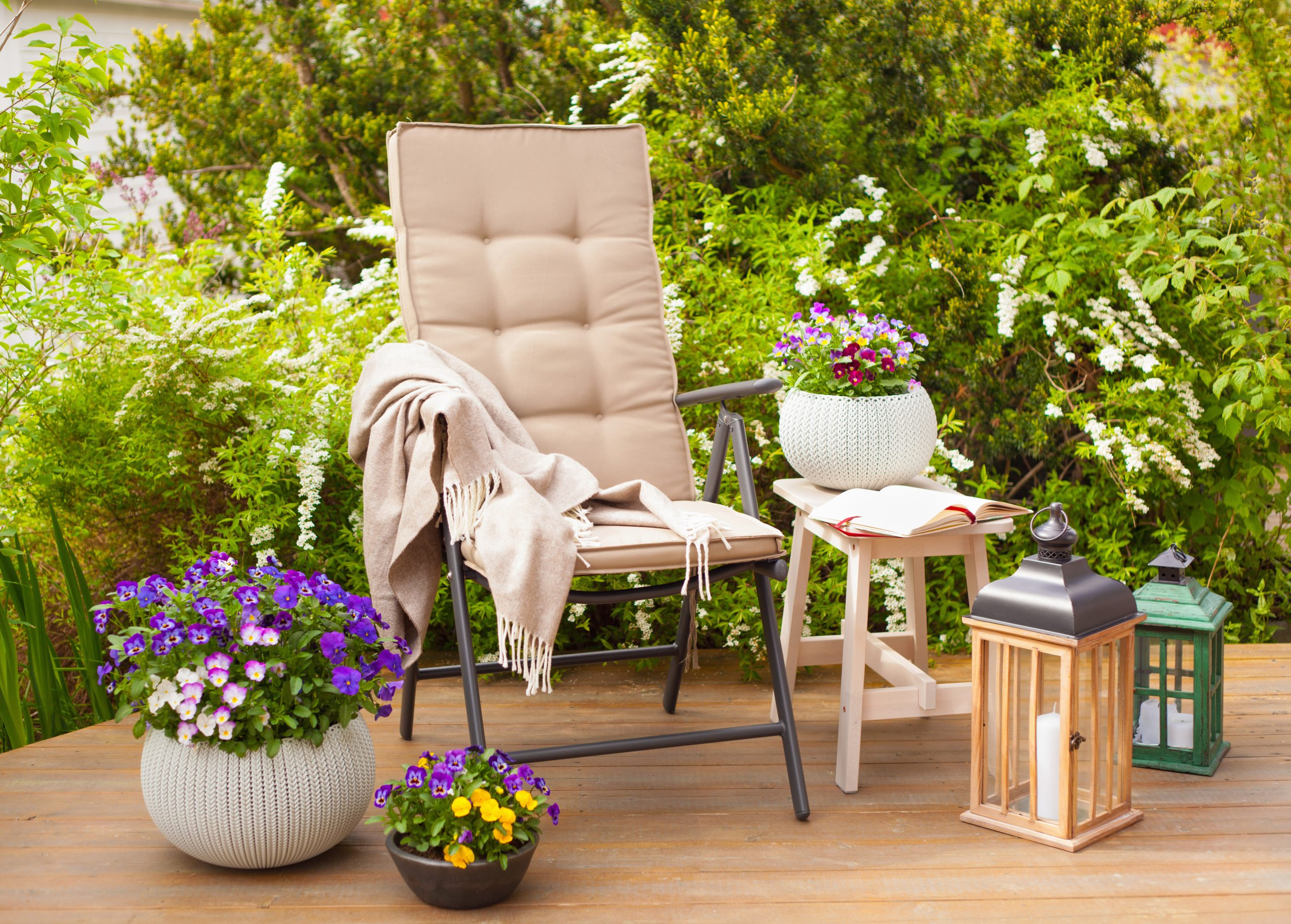 Chair and flower planters